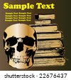 Skull and Books Vector Background - stock photo