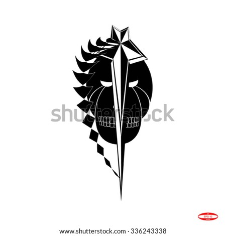 skull and chain for tattoo. vector illustration - stock vector
