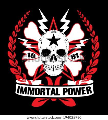 Skull and crossbones / a mark of the danger warning / T-shirt graphics / immortal skull illustration - stock vector