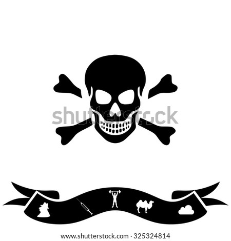 Skull and crossbones. Black flat icon and bonus pictogram with ribbon. Vector illustration symbol - stock vector