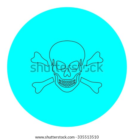 Skull and crossbones. Black outline flat icon on blue circle. Simple vector illustration pictogram on white background