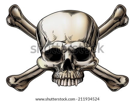 Skull and crossbones drawing with skull in the center of the crossed bones - stock vector