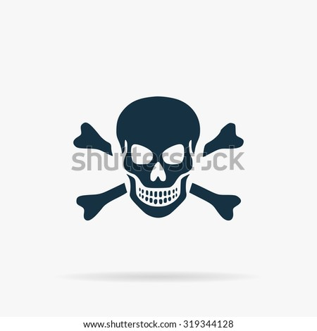 Skull and crossbones. Flat vector web icon or sign on grey background with shadow. Collection modern trend concept design style illustration symbol - stock vector