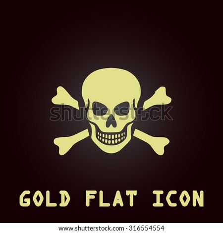 Skull and crossbones. Gold flat vector icon. Symbol for web and mobile applications for use as logo, pictogram, infographic element - stock vector