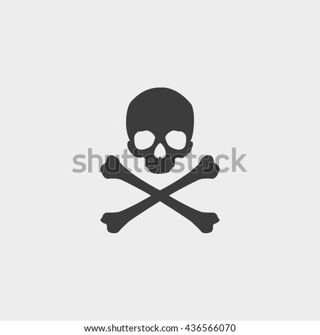 Skull and crossbones icon in a flat design in black color. Vector illustration eps10 - stock vector