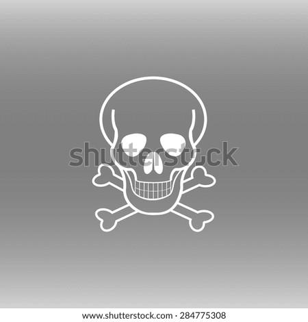 Skull and crossbones icon, vector illustration. Flat design style - stock vector