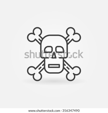 Skull and crossbones icon - vector scull and bones sign or symbol in thin line style - stock vector