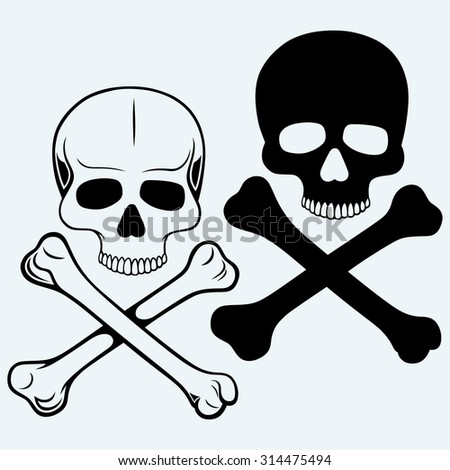 Skull and crossbones. Isolated on blue background