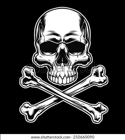 Skull and crossbones on black - stock vector