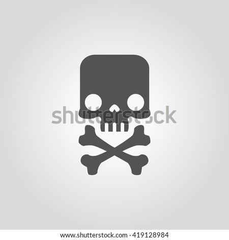 Skull and crossbones silhouette. Mark of the danger warning. Skull vector illustration. Jolly Roger for pirate flag. Cute Skull illustration. Skull in flat style. Skull of human head. Skull icon. - stock vector