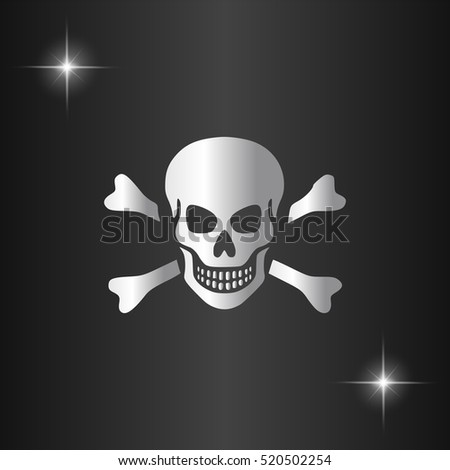 Skull and crossbones. Silver flat vector icon on black background with star