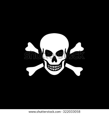 Skull and crossbones. Simple flat icon. Black and white. Vector illustration - stock vector