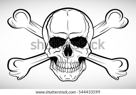 skull crossbones vector illustration stock vector 544433599