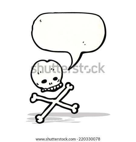 skull and crossbones with speech bubble cartoon - stock vector
