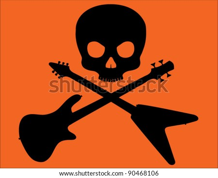 Skull and Crossed Bass and Flying V Guitars on Bright Orange Background - stock vector