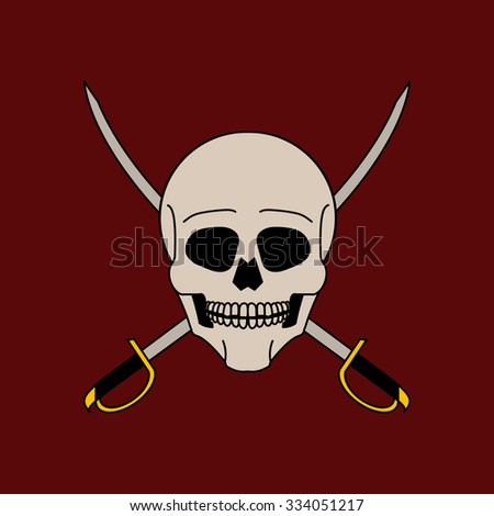 Skull and crossed sabers vector illustration