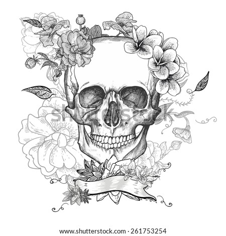day of the dead skull stock images, royaltyfree images  vectors, Beautiful flower