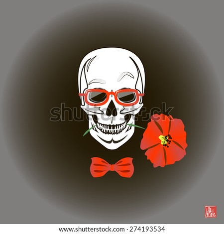 Skull and Flowers, Day of The Dead, Vintage Vector illustration - stock vector
