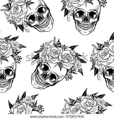 Skull Flowers Seamless Pattern Background Coloring Stock