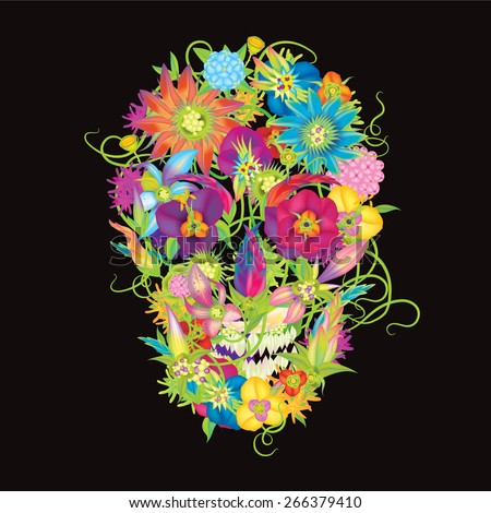 Skull and flowers vector illustration black background eps10 - stock vector