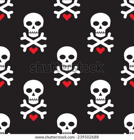 Skull and heart on black background - seamless vector pattern. Design element. White skull and red heart on black background.  - stock vector