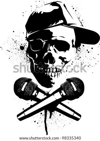 Graffiti Stencils Skull Skull and Microphones Stencil