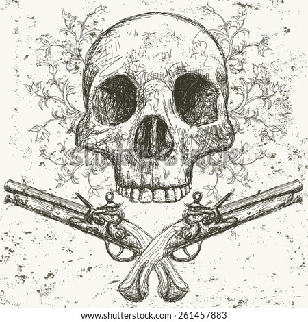 Skull and pistols Sketchy, hand drawn front view of human skull with pistols underneath and floral scroll work behind it .