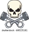 Skull and Pistons - stock vector