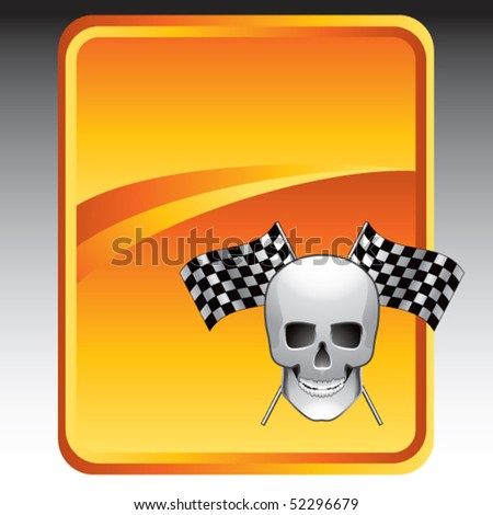skull and racing flags orange background
