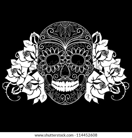 Skull and roses, black and white Day of the Dead card - stock vector