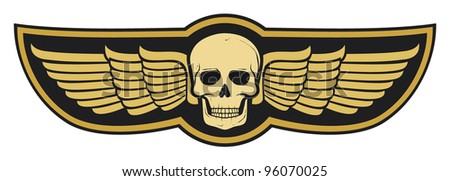 skull and wings - stock vector