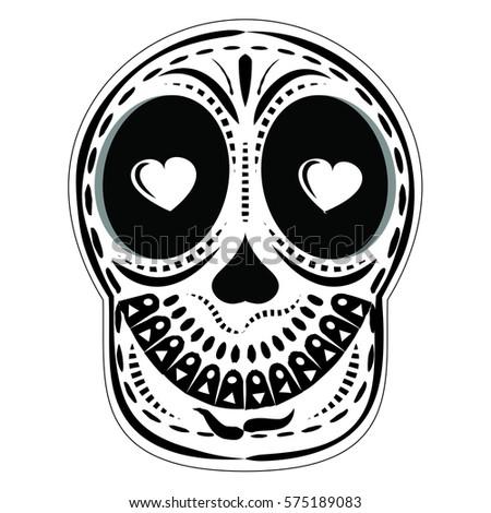 Skull Art Vector Eye Hearts