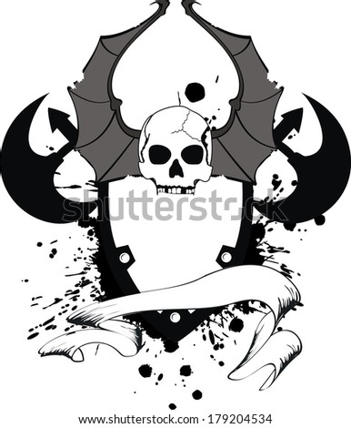 skull bat wings sticker tattoo in vector format