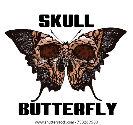 Skull butterfly greater deaths head hawkmoth vector abstract illustration isolated on white background