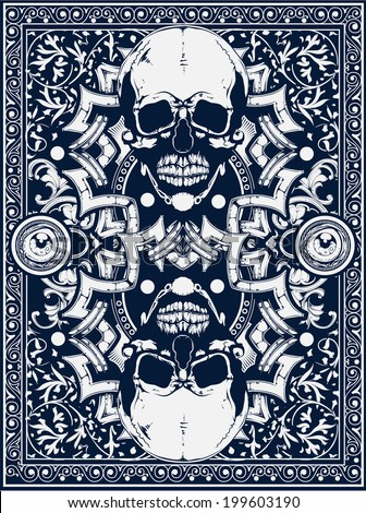 Skull card - stock vector