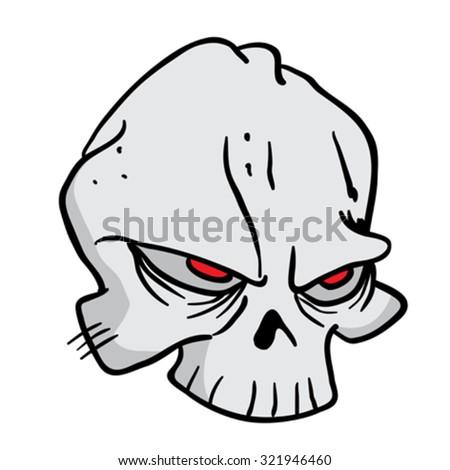 skull cartoon illustration - stock vector