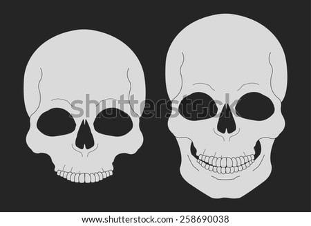 Skull chalk vector clip art illustrations isolated on blackboard - stock vector