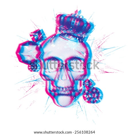 Skull chromatic aberration vector - stock vector