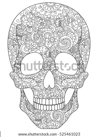 Skull Coloring Book Adults Vector Illustration Stock Photo Photo
