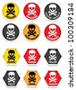 Skull & Crossbones Warning Stickers - stock vector