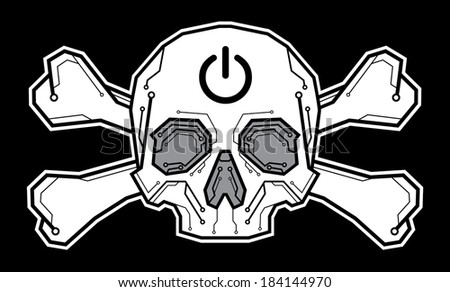 skull crossbones with digital lines and on off sign