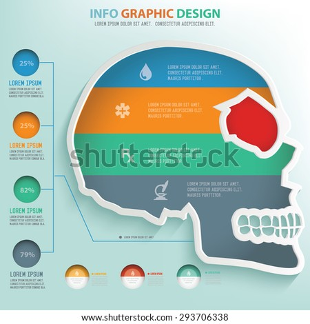 Skull design info graphic design,clean vector - stock vector