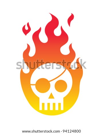 Skull Fire - stock vector