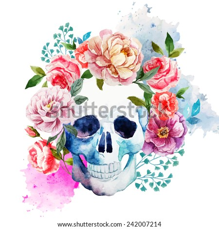 skull, flowers, watercolor - stock vector