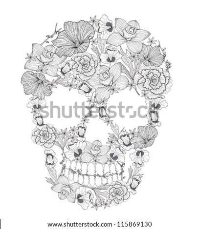Skull from flowers. - stock vector