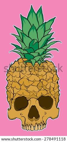 skull fruit pineapple - stock vector
