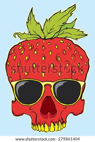 skull fruit strawberry with glasses - stock vector