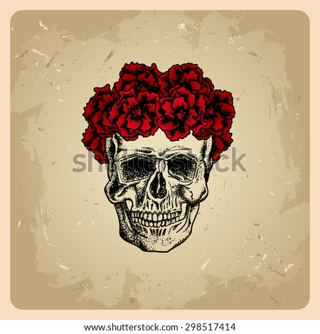 Skull girl with wreath - stock vector