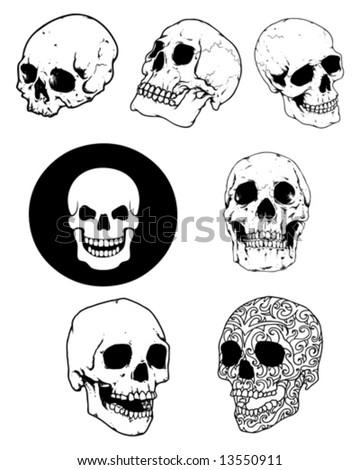 skull group - stock vector