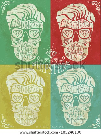 skull hipster drawing label - stock vector
